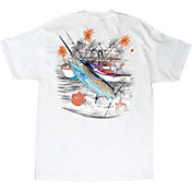 Guy Harvey Men's Clemson Tigers Collegiate Boat White T-Shirt