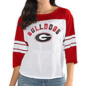 G-III For Her Women's Georgia Bulldogs White/Red First Team Three-Quarter Sleeve T-Shirt