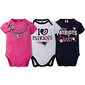 Gerber Infant Girl's New England Patriots 3-Piece Onesie Set