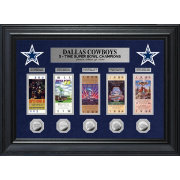 Highland Mint Dallas Cowboys 5 Time Super Bowl Champions Deluxe Silver Coin & Ticket Collection