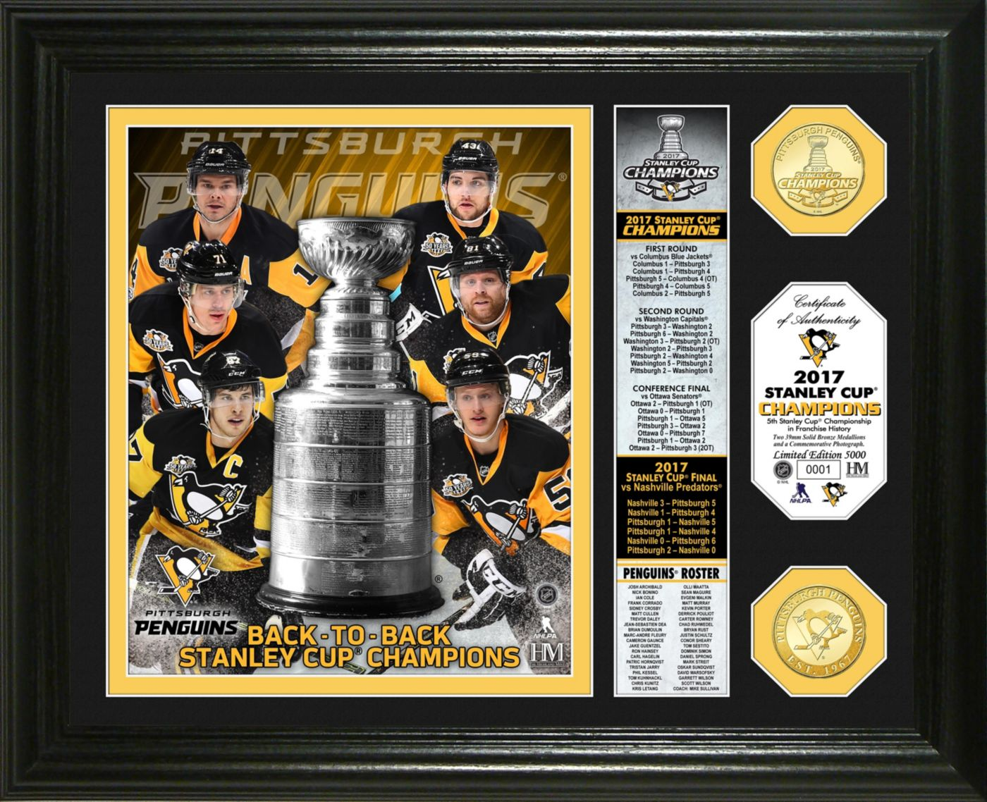 """Highland Mint 2017 Stanley Cup Champions Pittsburgh Penguins """"Banner"""" Bronze Coin Photo Mint"""