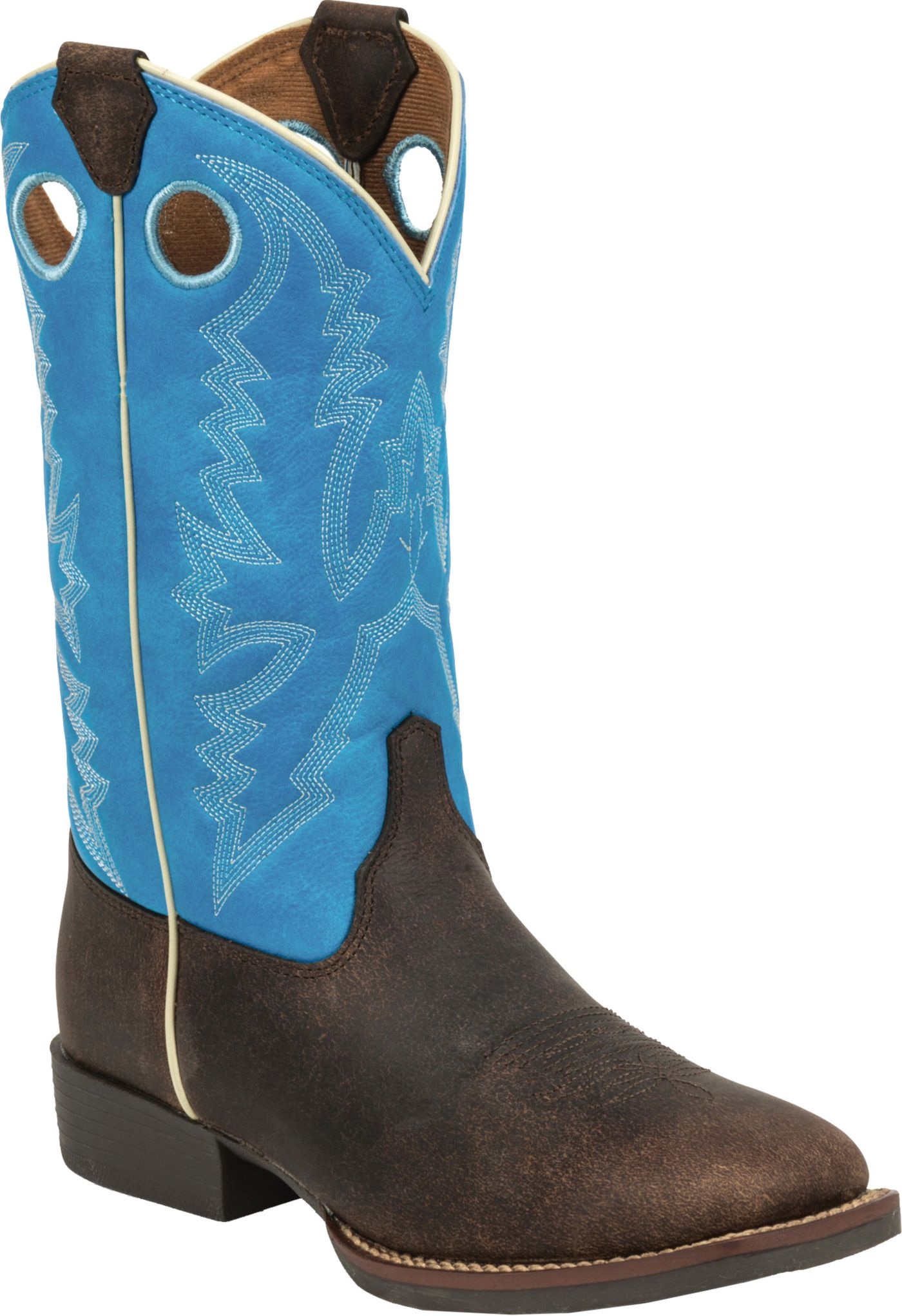 Justin Kids' Chocolate Brown Buffalo Bent Rail Western Boots