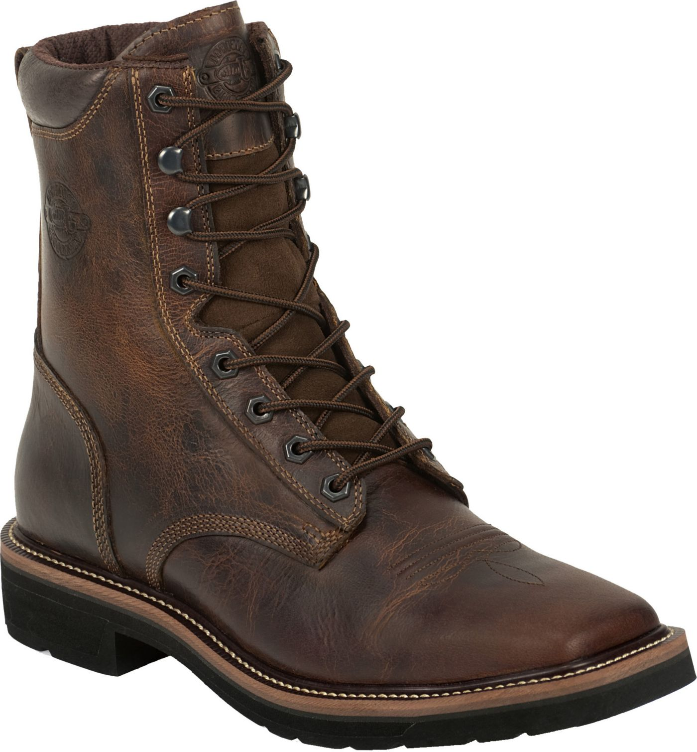 Justin Men S Rugged Tan Stampede Steel Toe Work Boots