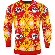 FOCO Men's Kansas City Chiefs Candy Cane Ugly Sweater