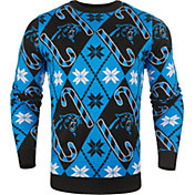 FOCO Men's Carolina Panthers Candy Cane Ugly Sweater