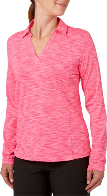 Lady Hagen Women's Essential Space Dye Long Sleeve Polo