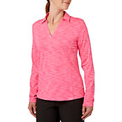Lady Hagen Women's Essential Space Dye Long Sleeve Polo - Extended Sizes