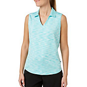 Lady Hagen Women's Essentials Space Dye Sleeveless Golf Polo – Extended Sizes