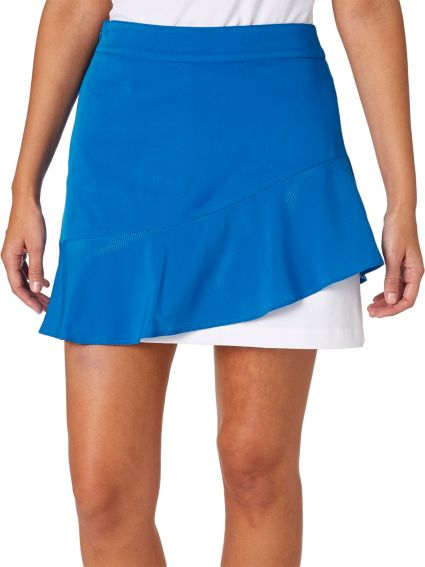 Lady Hagen Women's Watercolor Collection Ruffled Woven Golf Skort