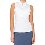 LIJA Women's Grid Keyhole Sleeveless Golf Polo