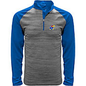 Levelwear Men's Kansas Jayhawks Grey Vandal Quarter-Zip Shirt