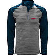 Levelwear Men's Ole Miss Rebels Grey Vandal Quarter-Zip Shirt
