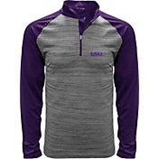 Levelwear Men's LSU Tigers Grey Vandal Quarter-Zip Shirt
