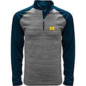 Levelwear Men's Michigan Wolverines Grey Vandal Quarter-Zip Shirt