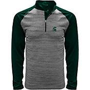 Levelwear Men's Michigan State Spartans Grey Vandal Quarter-Zip Shirt