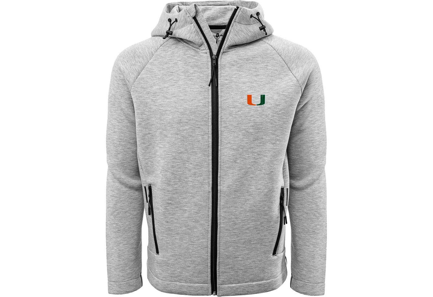 Levelwear Men's Miami Hurricanes Grey Titan Full-Zip Jacket