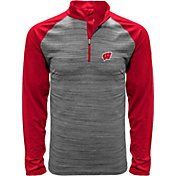 Levelwear Men's Wisconsin Badgers Grey Vandal Quarter-Zip Shirt