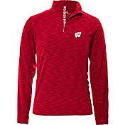 Levelwear Men's Wisconsin Badgers Red Mobility Quarter-Zip Long Sleeve Shirt