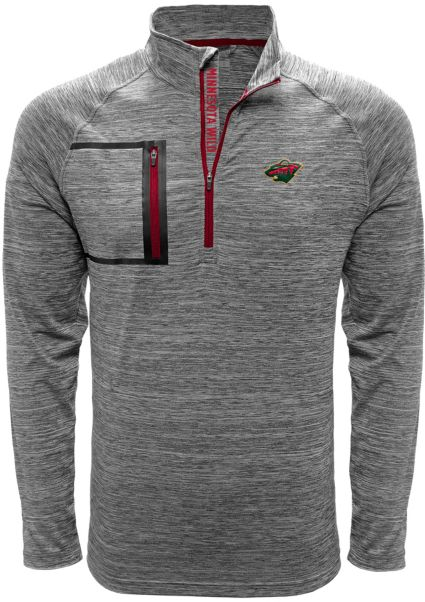 Levelwear Men's Minnesota Wild Vault Grey Quarter-Zip Pullover