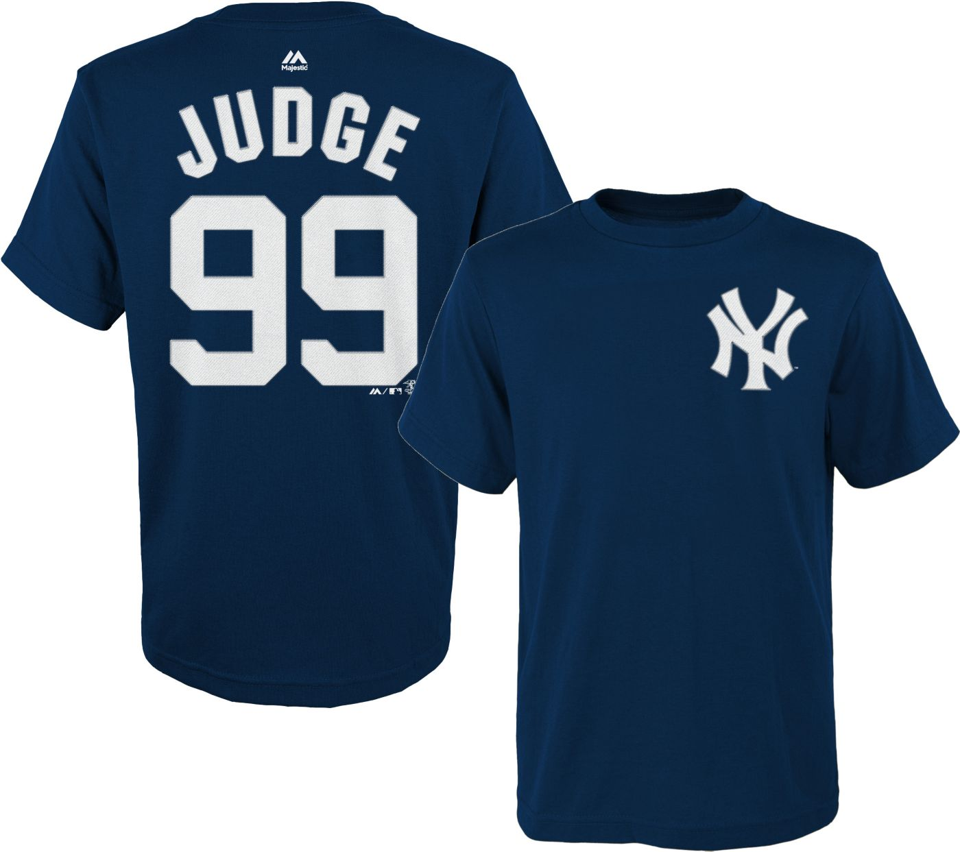 Majestic Boys' New York Yankees Aaron Judge #99 Navy T-Shirt