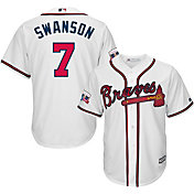 Majestic Men's Replica Atlanta Braves Dansby Swanson #2 Cool Base Home White Jersey w/ Turner Field Patch