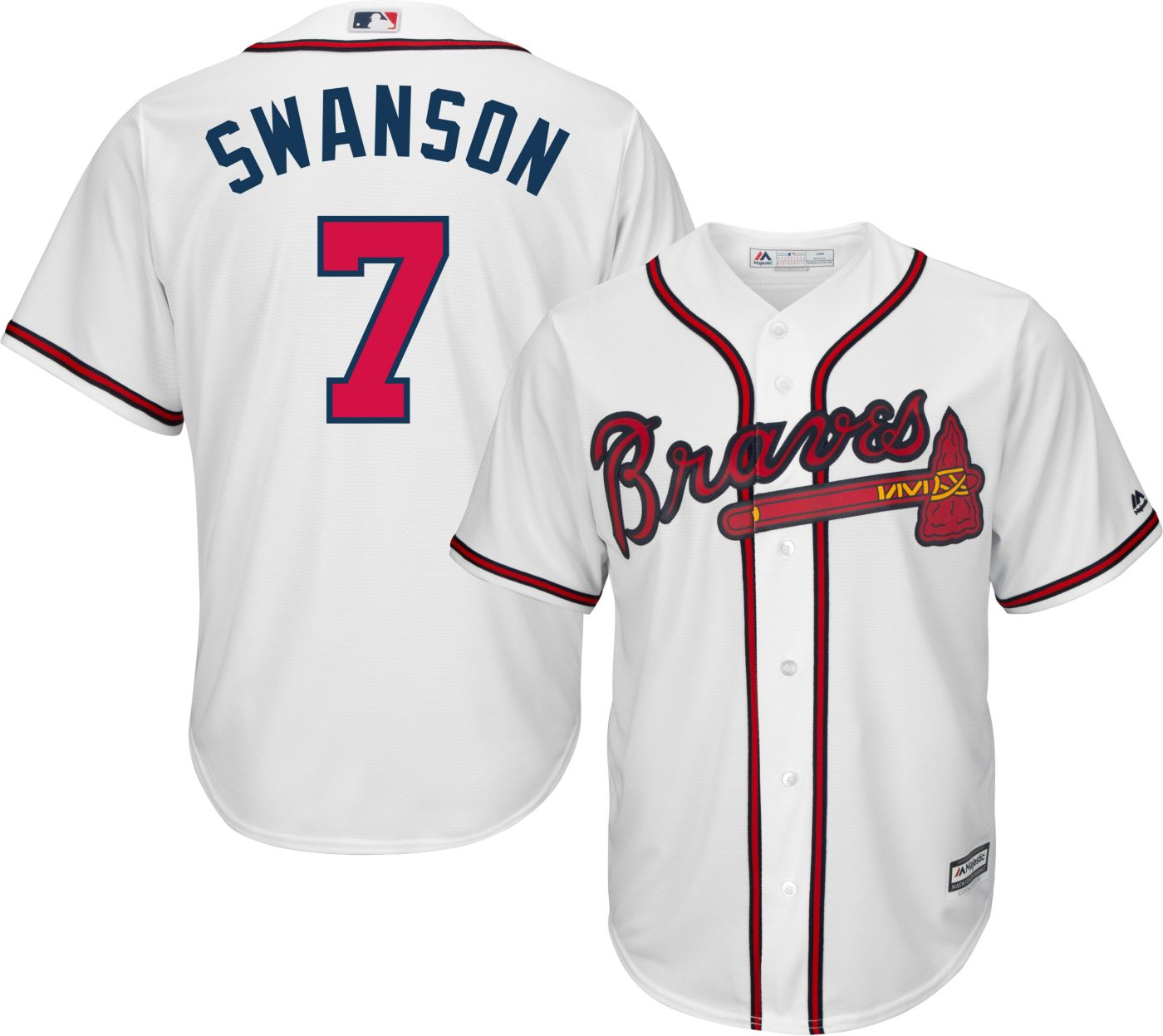 Majestic Men's Replica Atlanta Braves Dansby Swanson #7 Cool Base Home White Jersey
