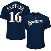 Majestic Men's Milwaukee Brewers Domingo Santana #16 Navy T-Shirt