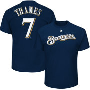 Majestic Men's Milwaukee Brewers Eric Thames #7 Navy T-Shirt