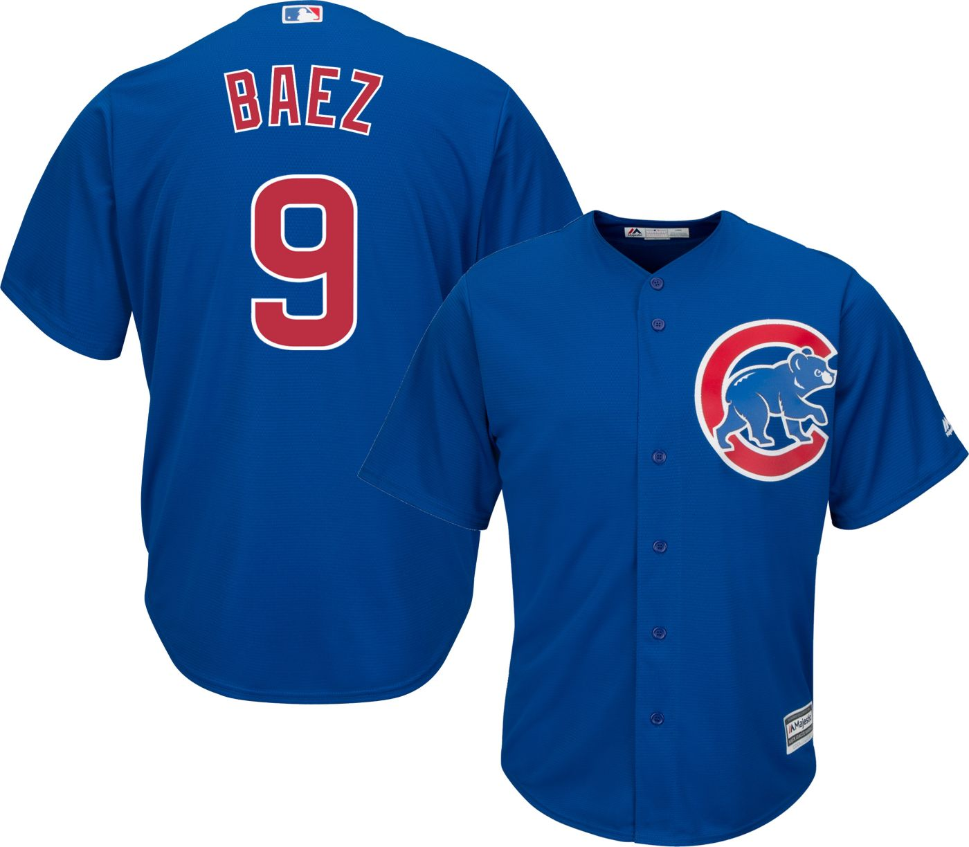 Majestic Men's Replica Chicago Cubs Javier Baez #9 Cool Base Alternate Royal Jersey