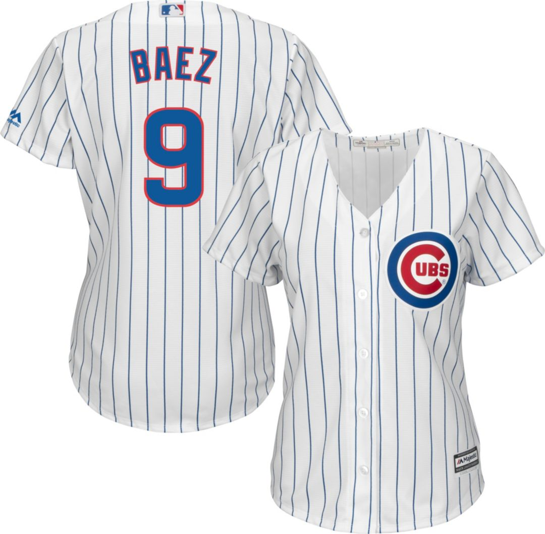 huge selection of 0a292 7e62d Majestic Women's Replica Chicago Cubs Javier Baez #9 Cool Base Home White  Jersey