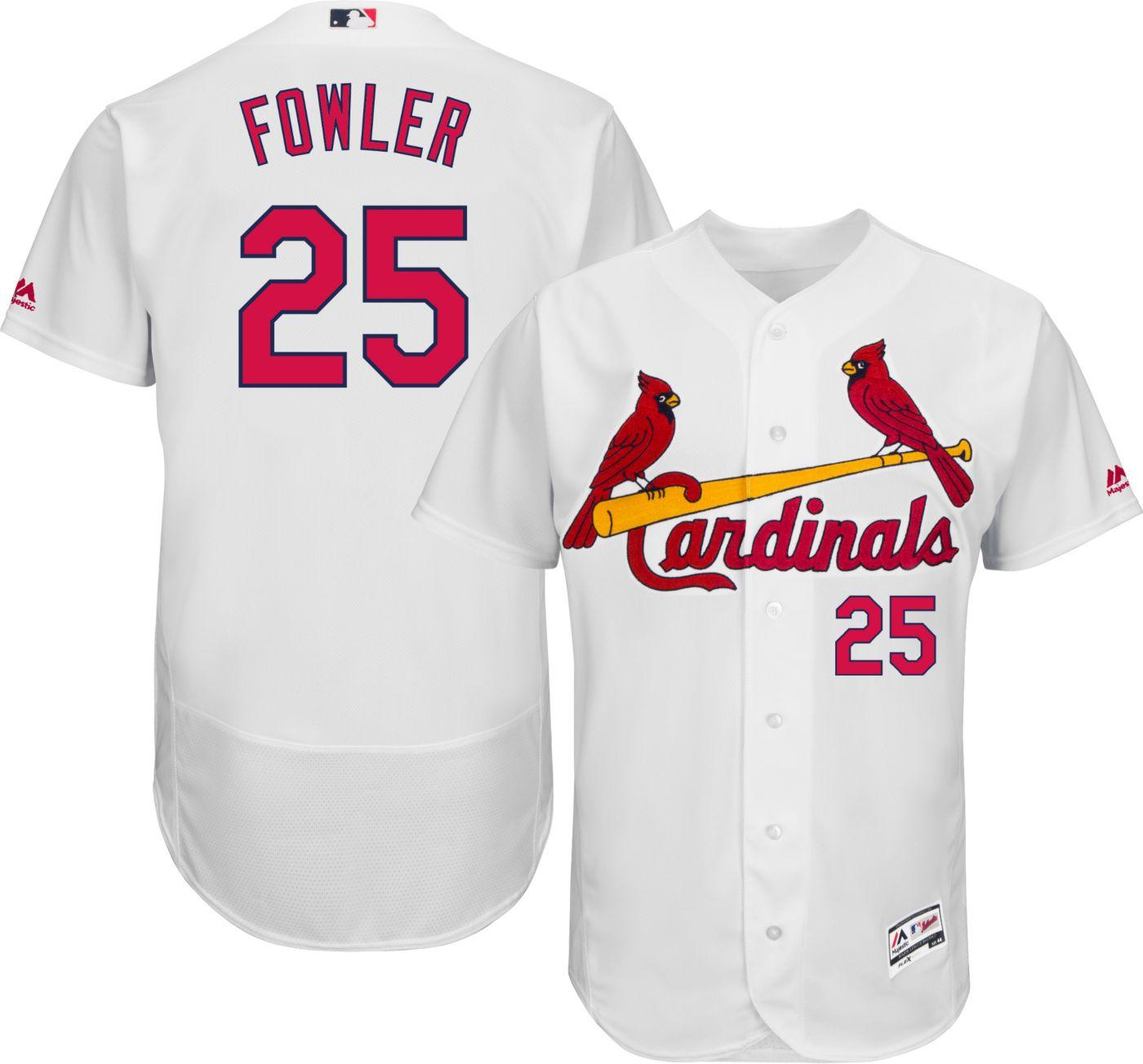 Majestic Men's Authentic St. Louis Cardinals Dexter Fowler #25 Flex Base Home White On-Field Jersey