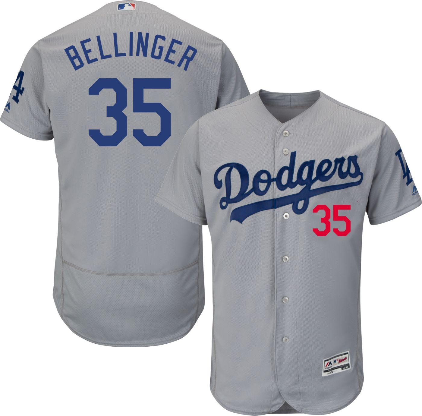 Majestic Men's Authentic Los Angeles Dodgers Cody Bellinger #35 Flex Base Alternate Road Grey On-Field Jersey