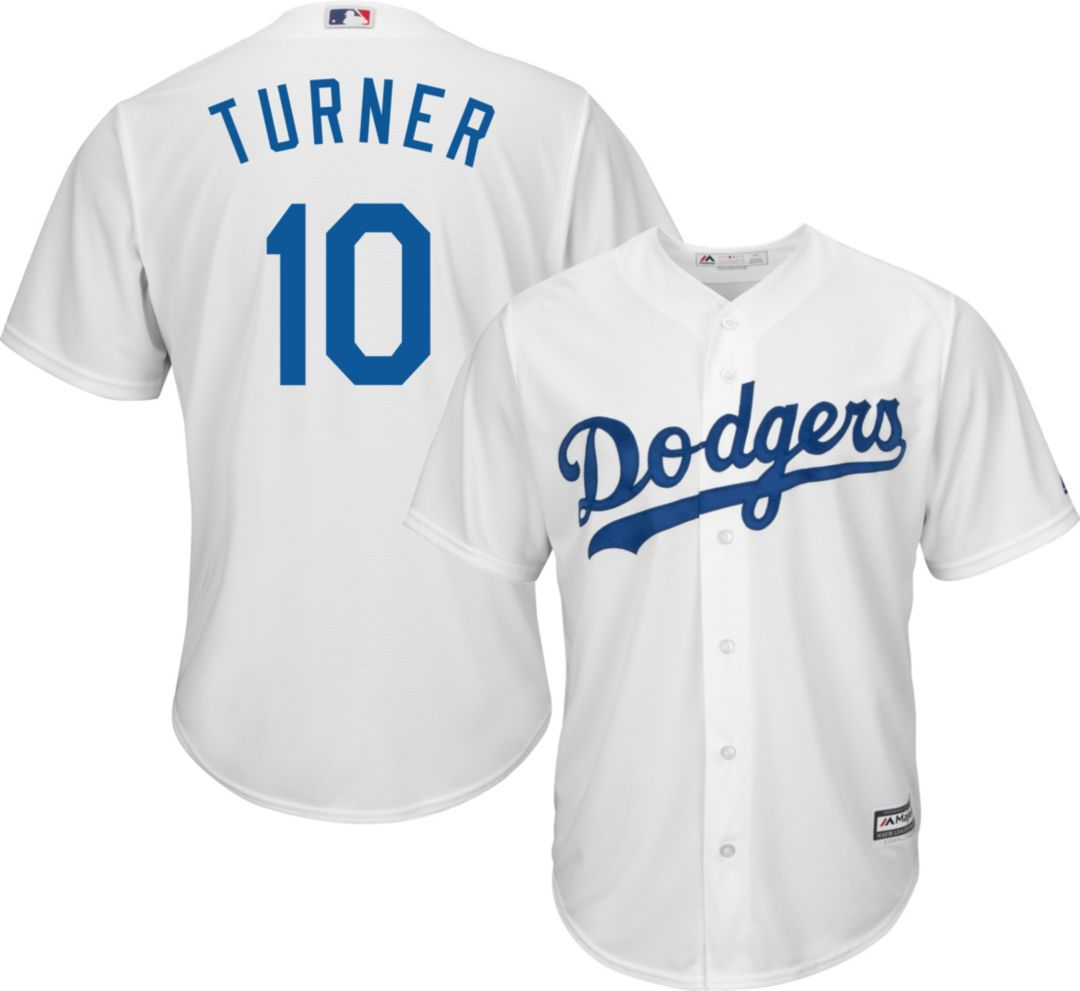 new concept f96af 1a7e1 Majestic Men's Replica Los Angeles Dodgers Justin Turner #10 Cool Base Home  White Jersey