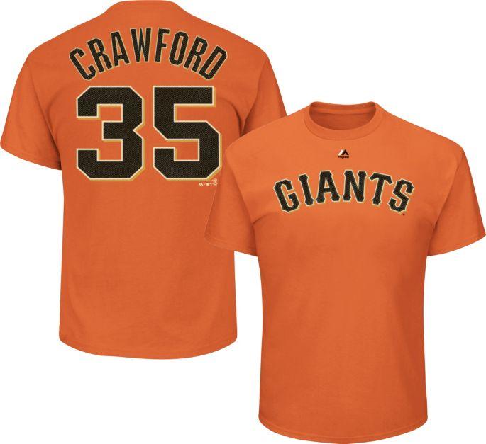 separation shoes f2197 27243 Majestic Men's San Francisco Giants Brandon Crawford #35 Orange T-Shirt