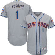 Majestic Men's Authentic New York Mets Amed Rosario #1 Flex Base Road Grey On-Field Jersey
