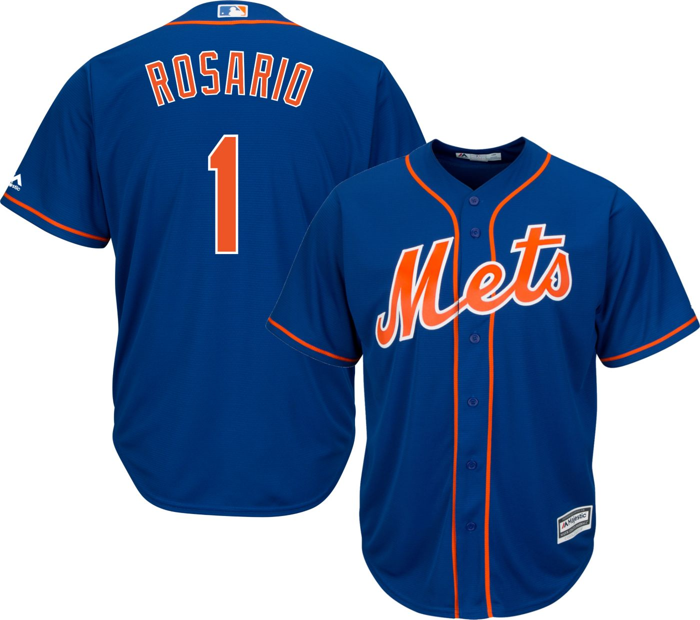 Majestic Men's Replica New York Mets Amed Rosario #1 Cool Base Alternate Home Royal Jersey