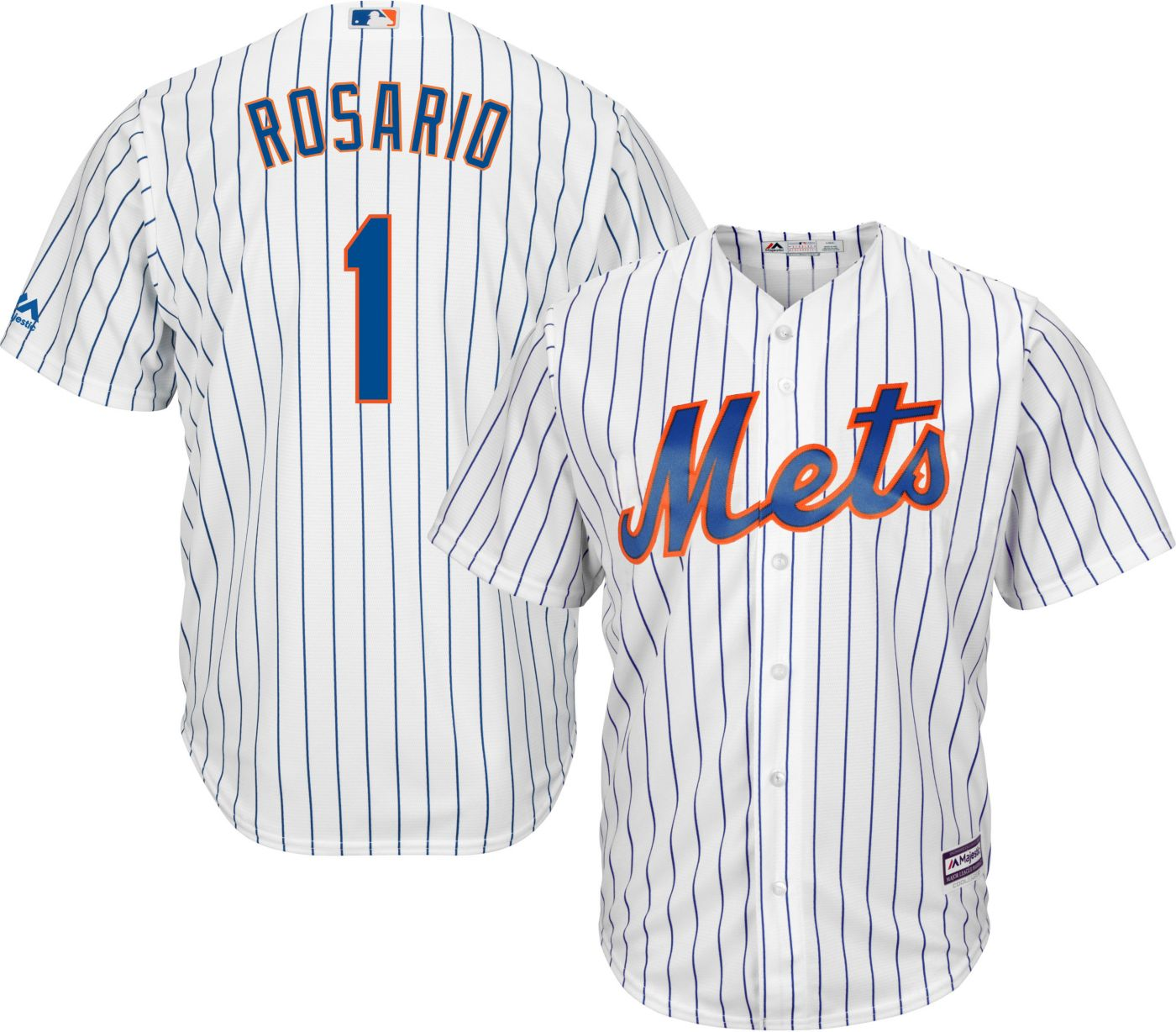 Majestic Men's Replica New York Mets Amed Rosario #1 Cool Base Home White Jersey