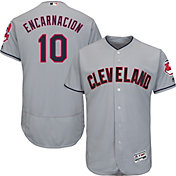 Majestic Men's Authentic Cleveland Indians Edwin Encarnacion #10 Flex Base Road Grey On-Field Jersey
