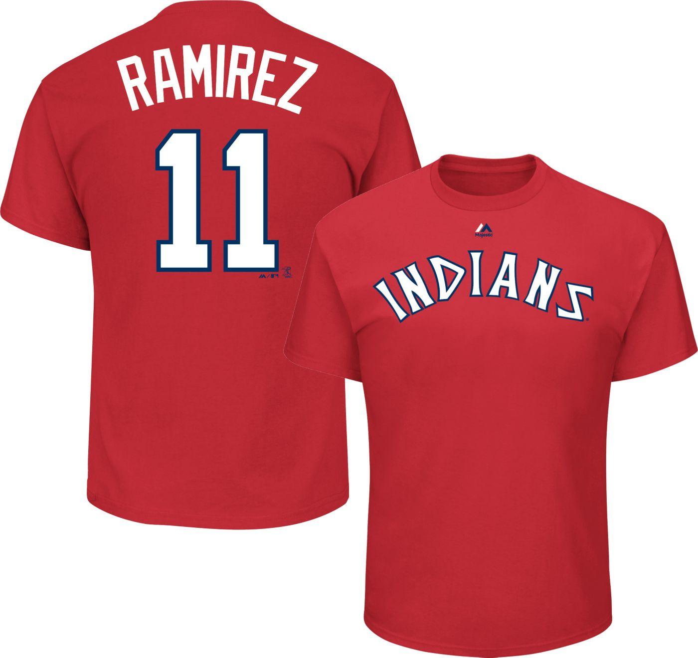Majestic Men's Cleveland Indians Jose Ramirez #11 Cooperstown Red T-Shirt