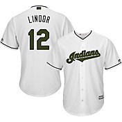 Majestic Men's Replica Cleveland Indians Francisco Lindor #12 Cool Base Home White 2018 Memorial Day Jersey