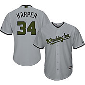 Majestic Men's Replica Washington Nationals Bryce Harper #34 Cool Base Road Grey 2018 Memorial Day Jersey