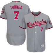 Majestic Men's Authentic Washington Nationals Trea Turner #7 Flex Base Road Grey On-Field Jersey