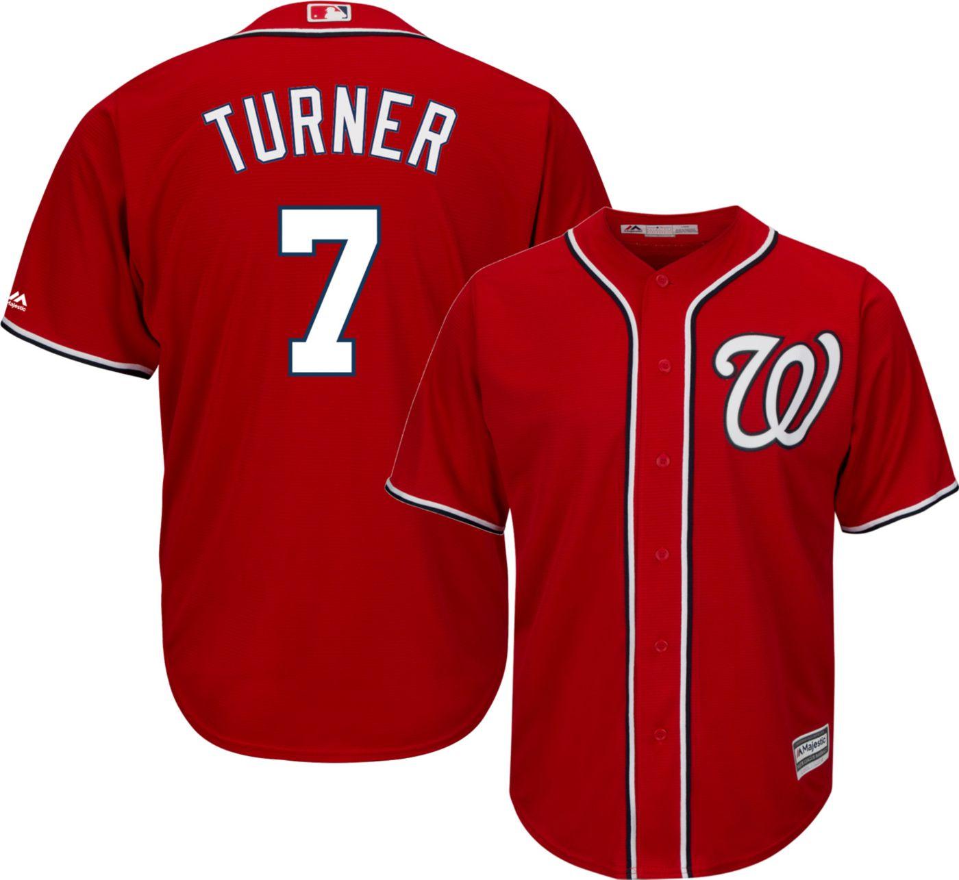 Majestic Men's Replica Washington Nationals Trea Turner #7 Cool Base Alternate Red Jersey
