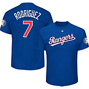 Majestic Men's Texas Rangers Ivan Rodriguez #7 Royal T-Shirt w/ 2017 HOF Patch
