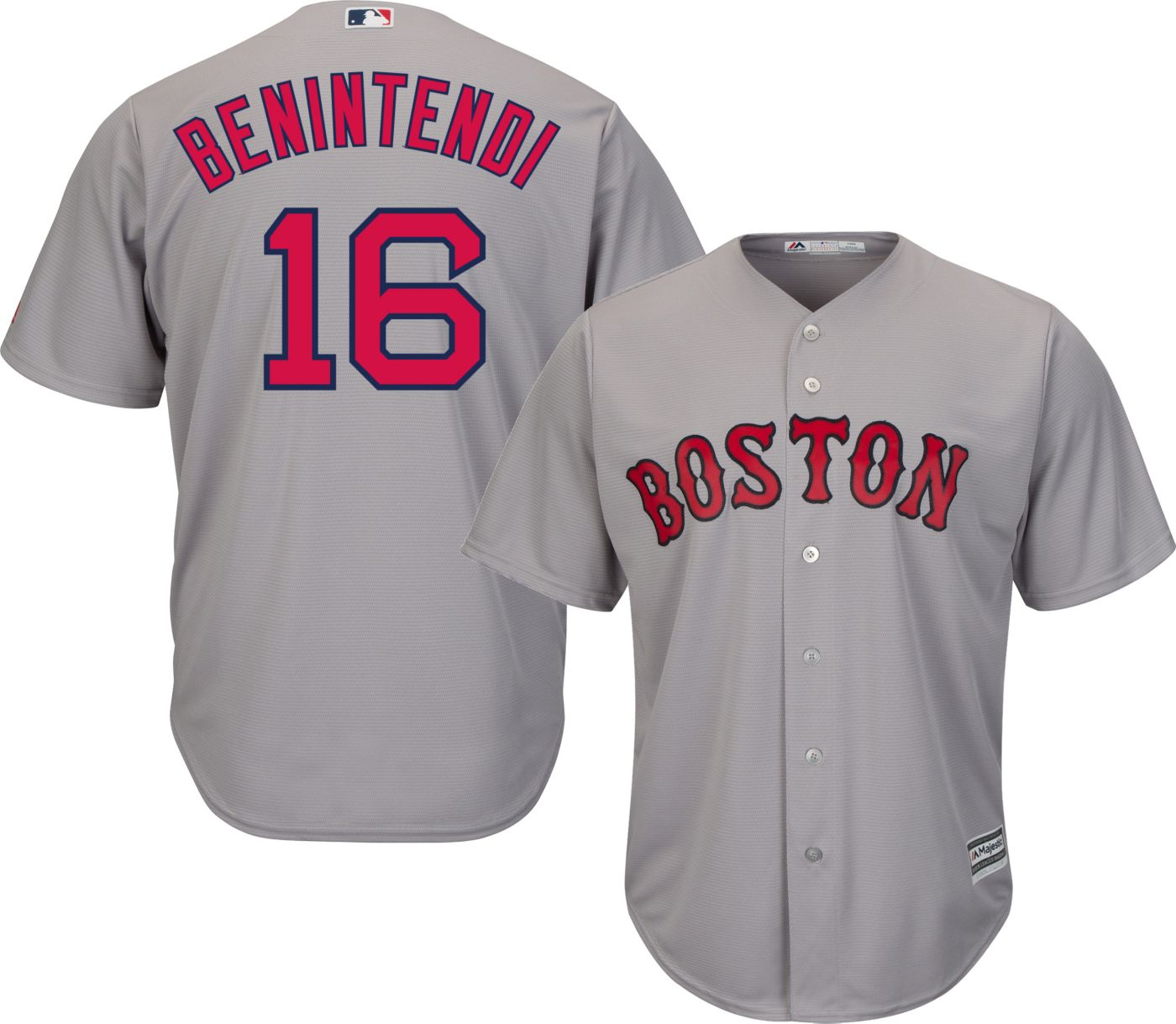Majestic Men's Replica Boston Red Sox Andrew Benintendi #16 Cool Base Road Grey Jersey