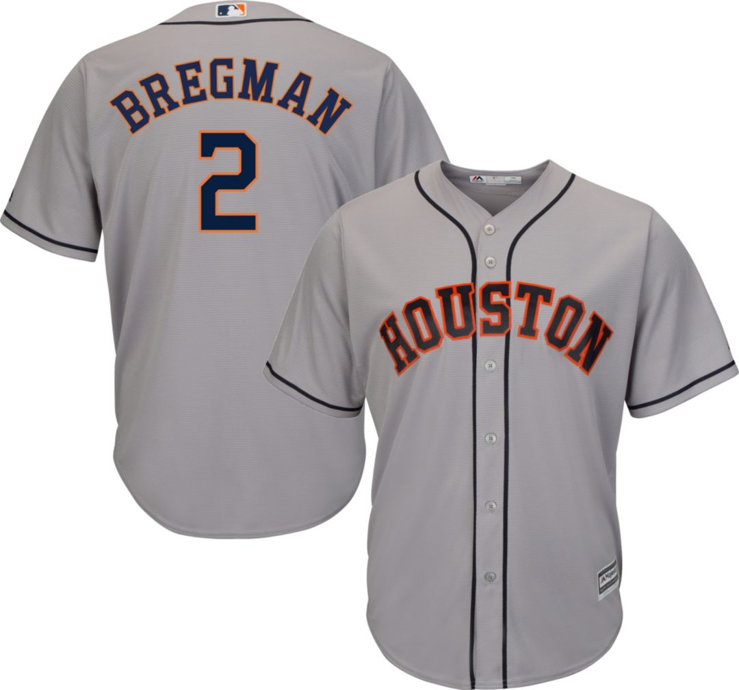 premium selection a5147 3fc35 Majestic Men's Replica Houston Astros Alex Bregman #2 Cool Base Road Grey  Jersey