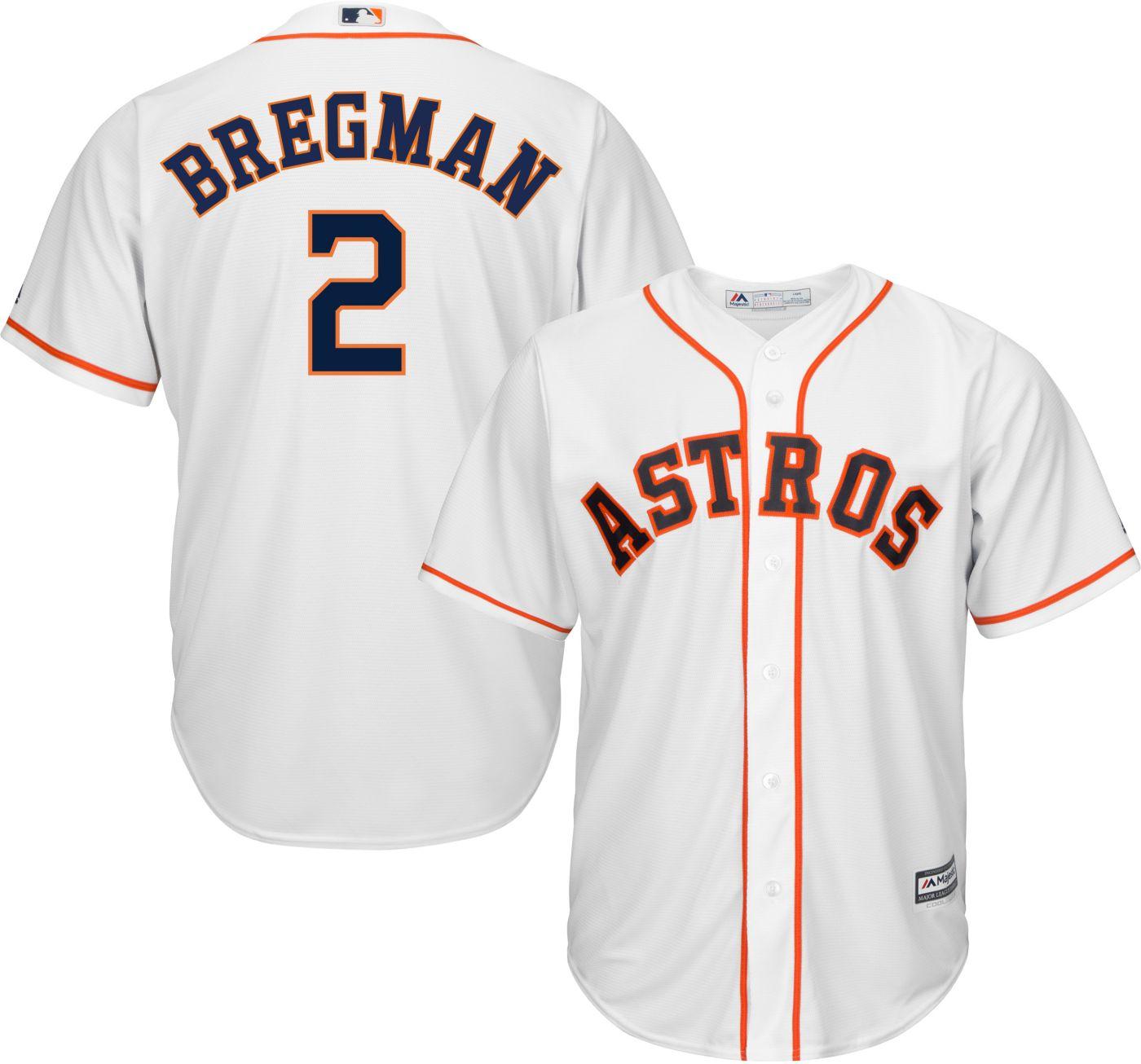 Majestic Men's Replica Houston Astros Alex Bregman #2 Cool Base Home White Jersey