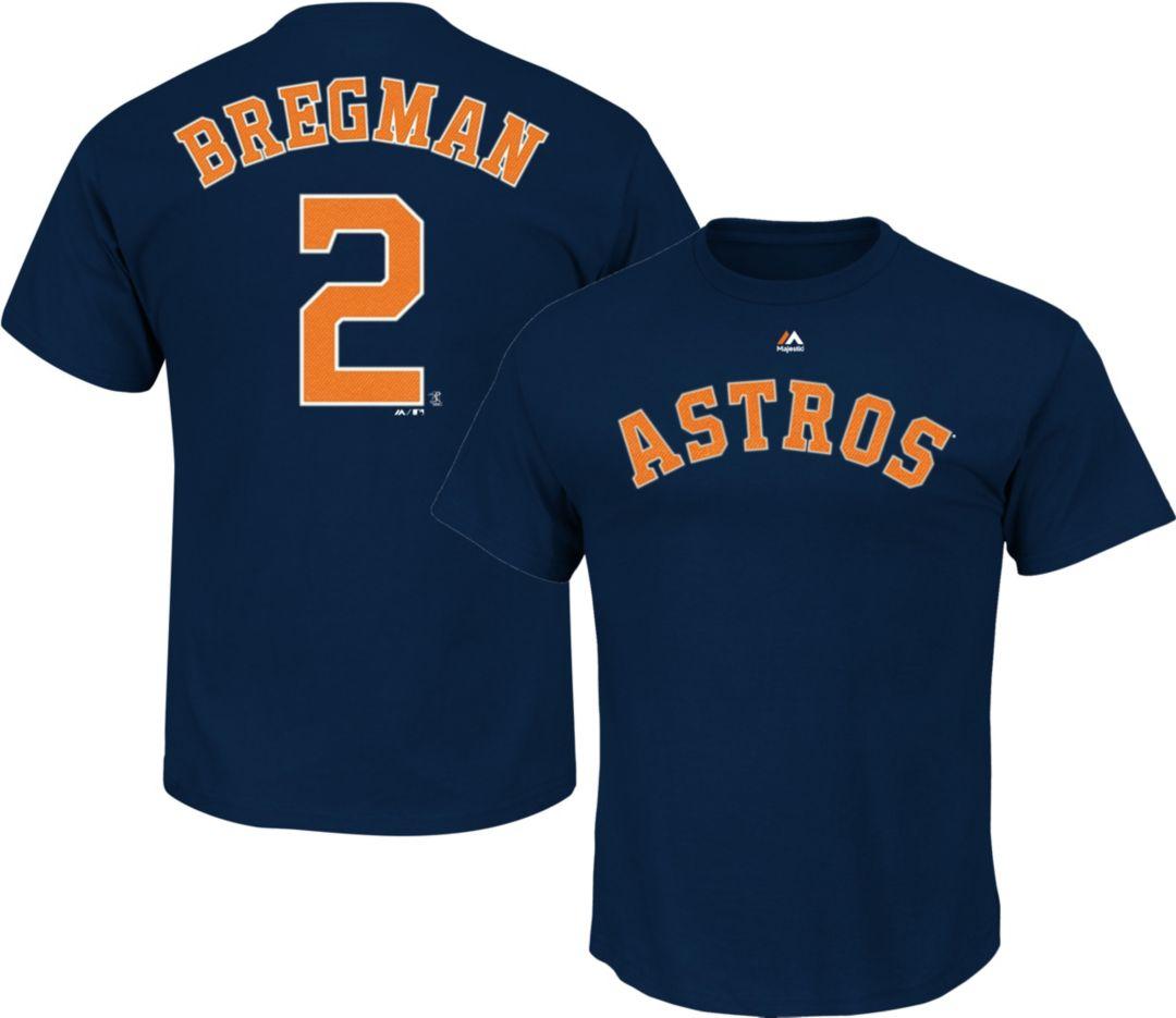 low priced 15d00 b1a07 Majestic Men's Houston Astros Alex Bregman #2 Navy T-Shirt