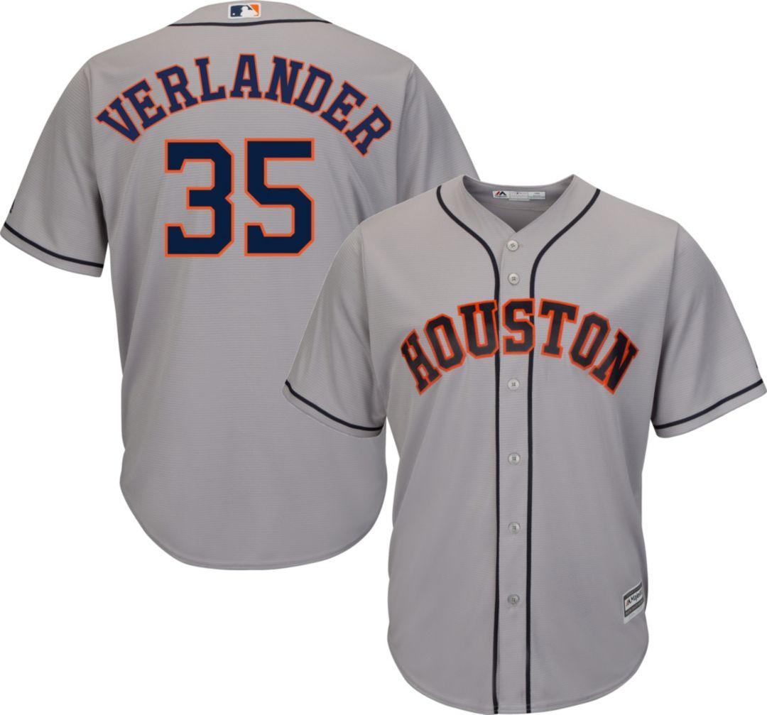 32c2c67e0b7 Majestic Men s Replica Houston Astros Justin Verlander  35 Cool Base Road  Grey Jersey 1