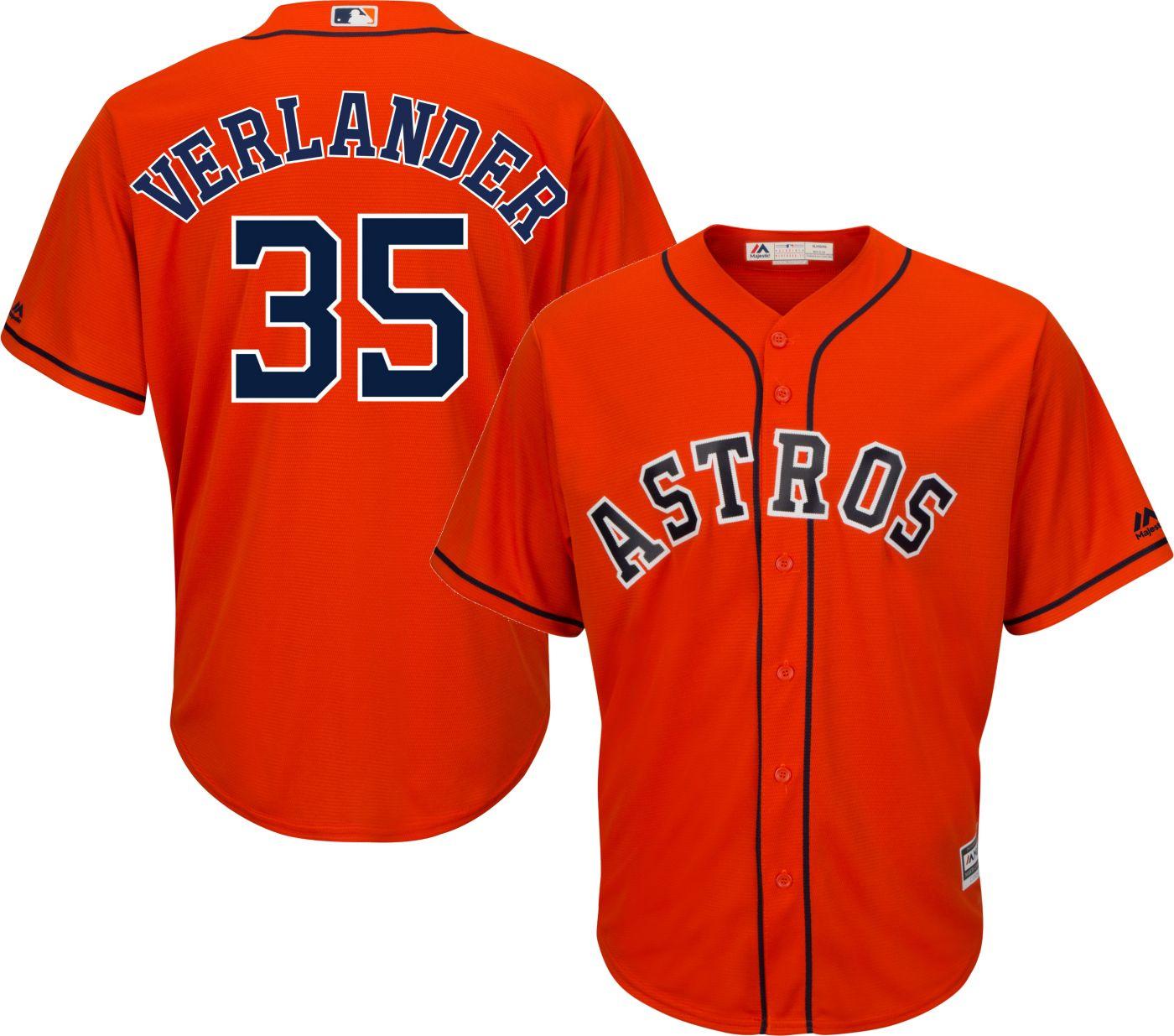 Majestic Men's Replica Houston Astros Justin Verlander #35 Cool Base Alternate Orange Jersey